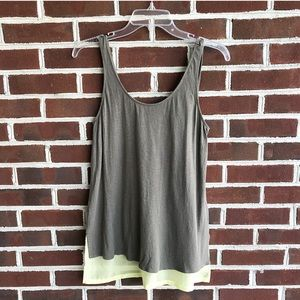 Express tank top olive green with neon bottom